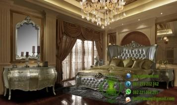 set tempat tidur ukiran model terbaru silver leaf harga murah desain mewah dan berkualitas