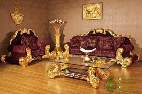 kursi tamu mewah luxury gold